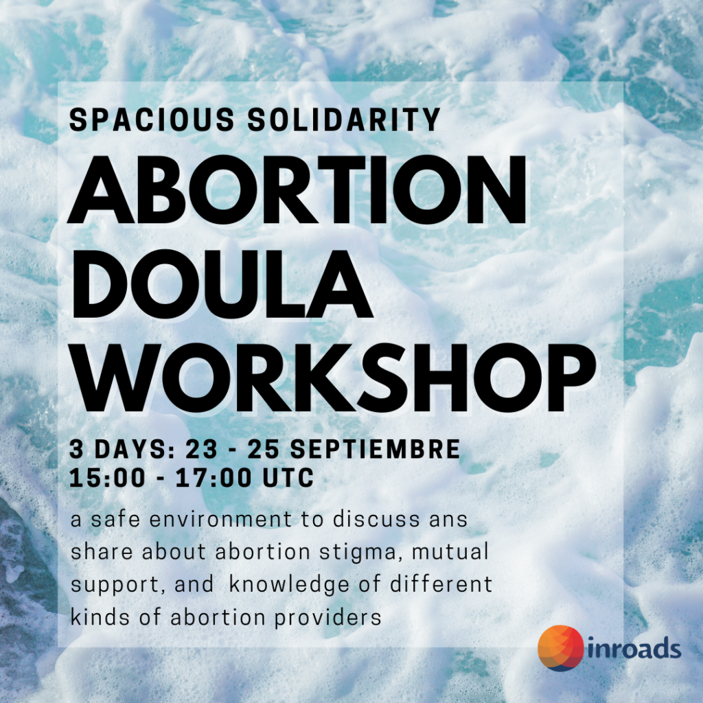 flyer for abortion doula workshop with waves in background. lists date time details.