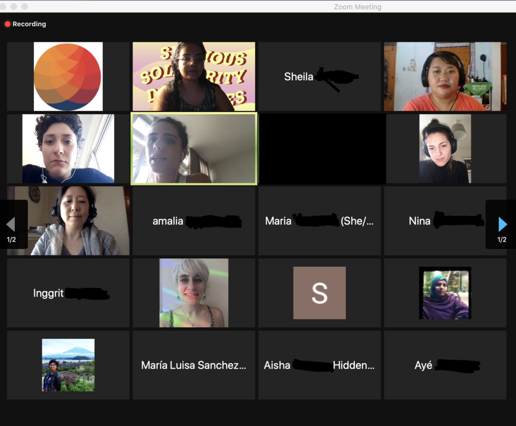 screen shot of faces and names from an online session